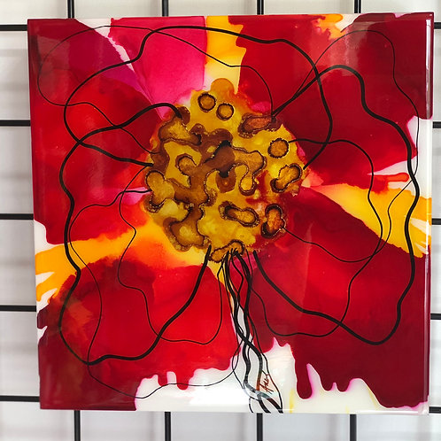 "12x12"" Red Pansy Alcohol Ink on Gesso Board"