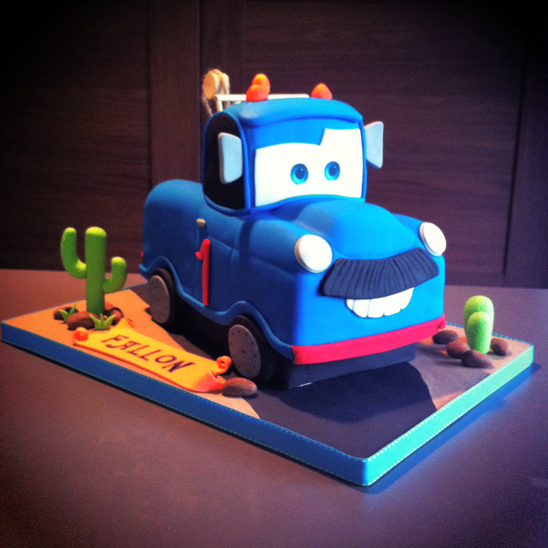Blue Tow Truck Cake