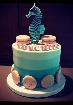 Ombre Seahorse Cake
