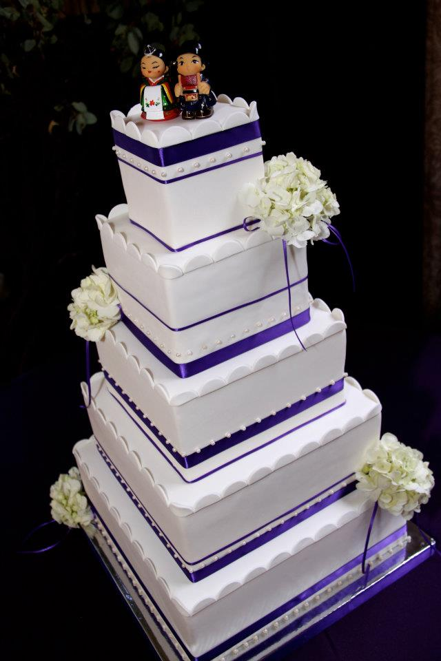 Splash of Purple Wedding Cake