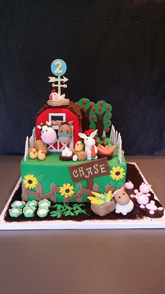Barnyard Theme 2nd Birthday Cake