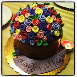 Ribbon Roses Birthday Cake