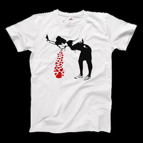 Banksy Lovesick Girl Throwing Up Hearts Artwork T-Shirt