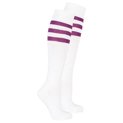 Women's Solid Purple Stripe Knee High Socks