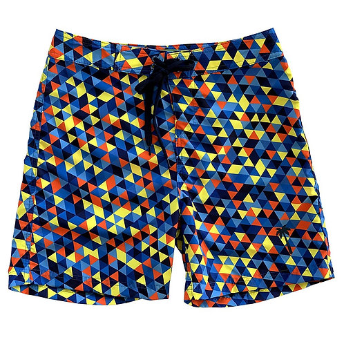 "La Palma Eco-Beachwear Surf Geometric Blue 17"" Boardshorts"