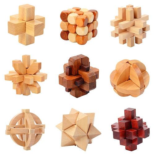 IQ Brain Teaser Kong Ming Lock Lu Ban Lock 3D Wooden Interlocking Burr Puzzles