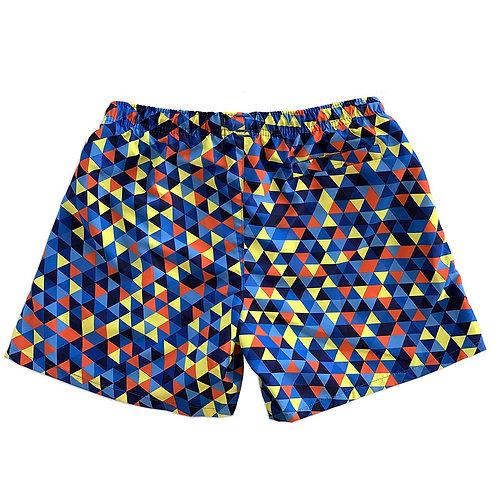 La Palma Eco-Beachwear Classic Geometrical Blue Sustainable Swim Trunk