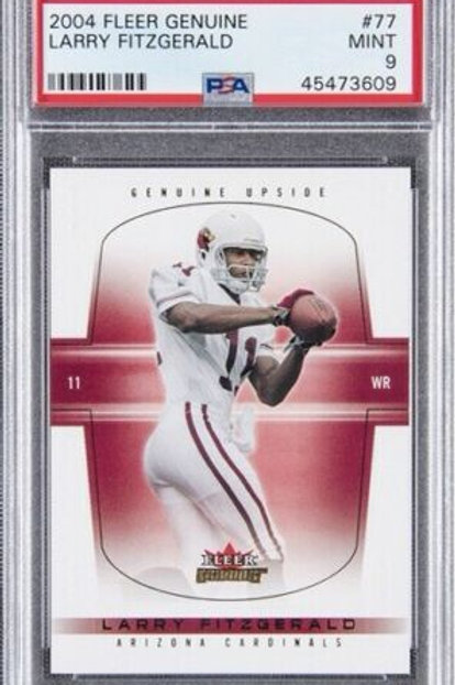 2004 Fleer Genuine #77 Larry Fitzgerald Rookie Card (#448/500) - PSA MINT 9