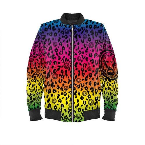 Rainbow Leopard Mens Bomber Jacket
