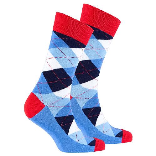 Men's Cerulean Red Argyle Socks