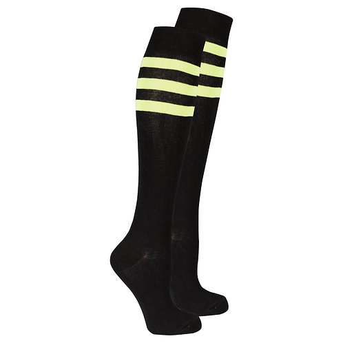 Women's Black Lime Stripe Knee High Socks