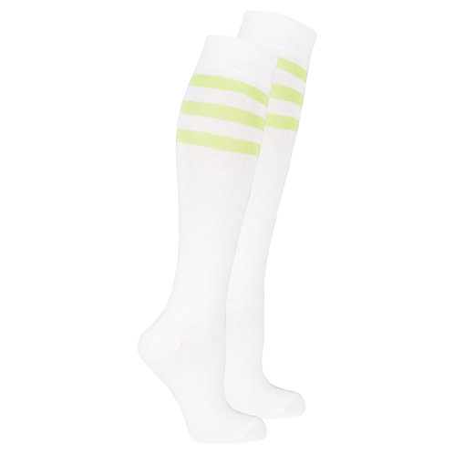 Women's Solid Green Stripe Knee High Socks