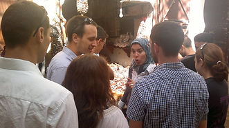 Darija students practice in the medina