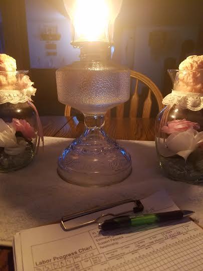 Birth by lamp light