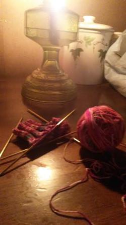 knitting at a birth