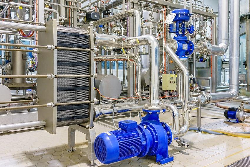 metalic plate in heat exchange machine and pump in the food industrial plant.jpg