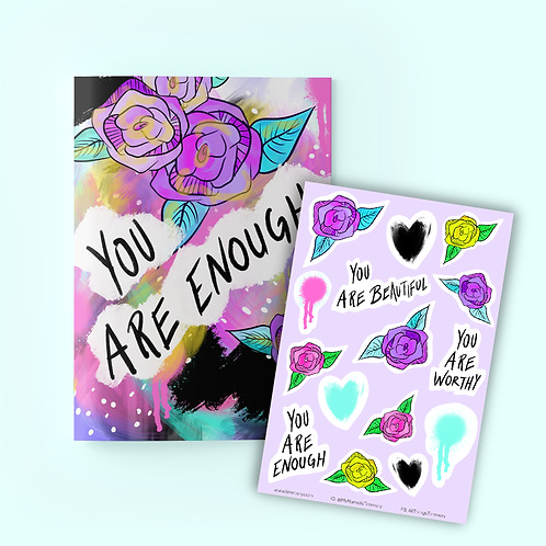 You Are Enough Journal + Sticker Sheet