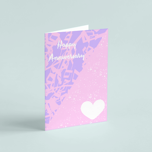 Anniversary Pink Scribbles Note Card