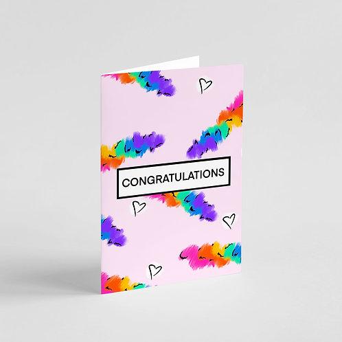Congratulations Rainbow Art Note Card