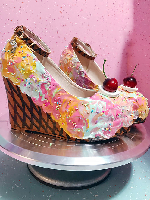 Rainbow Sherbert Ice Cream Wedges