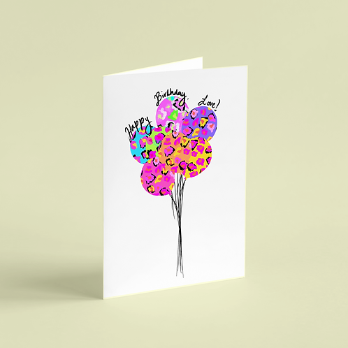 Birthday Wildly Celebrated Balloons Note Card