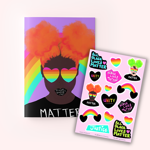#BlackQueerLivesMatter Journal + Sticker Sheet