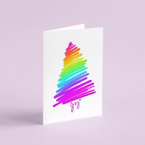 Rainbow Glee Tree Holiday Card