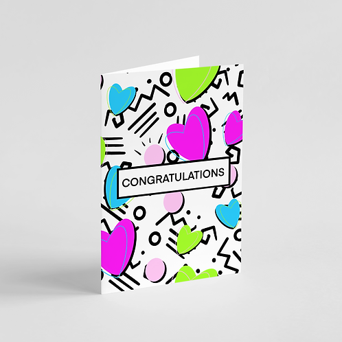 Congratulations 80s Party Note Card