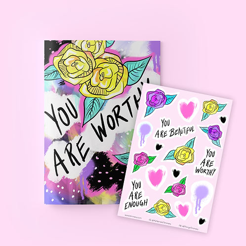 You Are Worthy Journal + Sticker Sheet