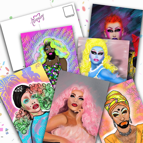 Drag Queens Postcard 6 Pack