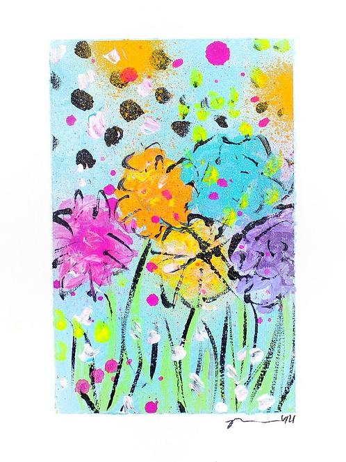 Poppy Happy Flowers Original Art