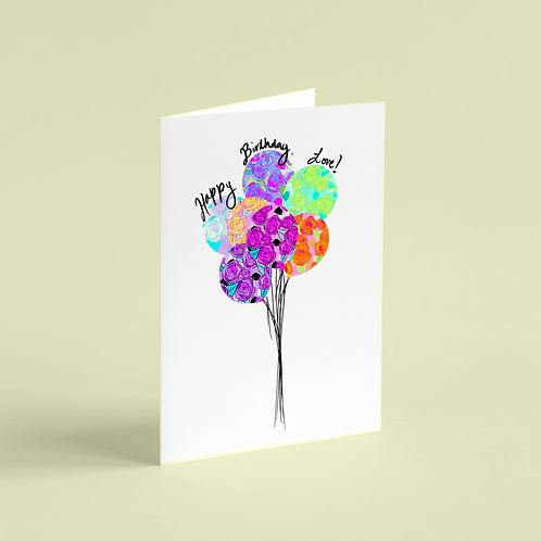 Birthday Wild Roses Balloons Note Card