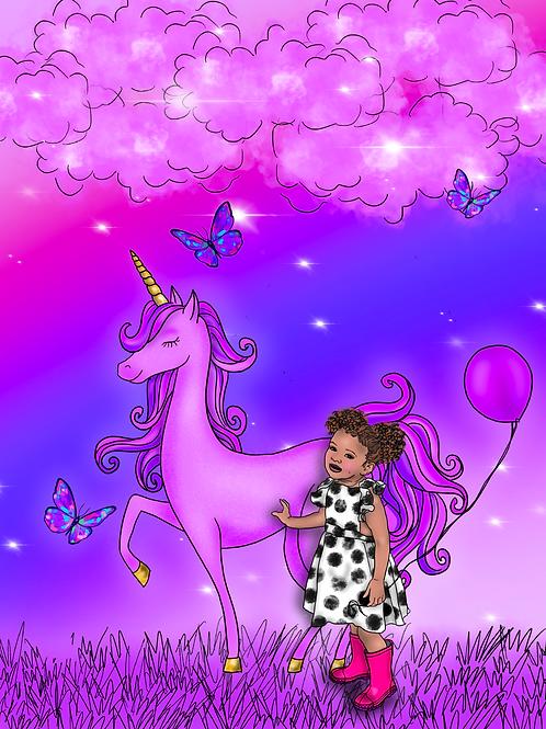 Violet Unicorn Dreams Art Print