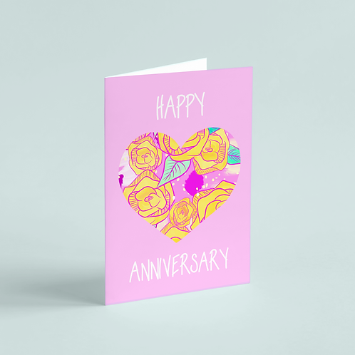 Anniversary Wild Roses Note Card