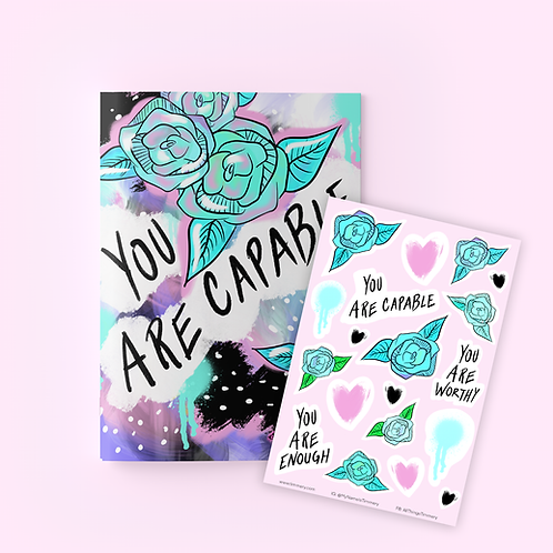 You Are Capable Journal + Sticker Sheet