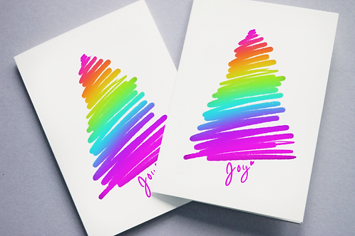 Rainbow Glee Tree Holiday Card Pack