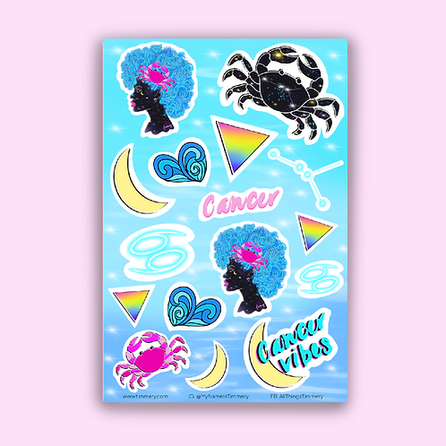 Cancer Goddess Zodiac Sticker Sheet