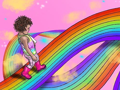 Nova Climbs Rainbows Art Print