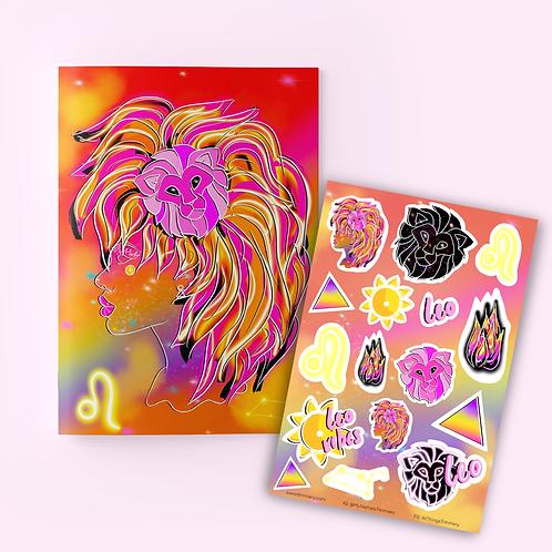 Leo Goddess Zodiac Journal + Sticker Sheet
