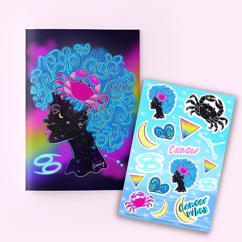 Cancer Goddess Zodiac Journal + Sticker Sheet