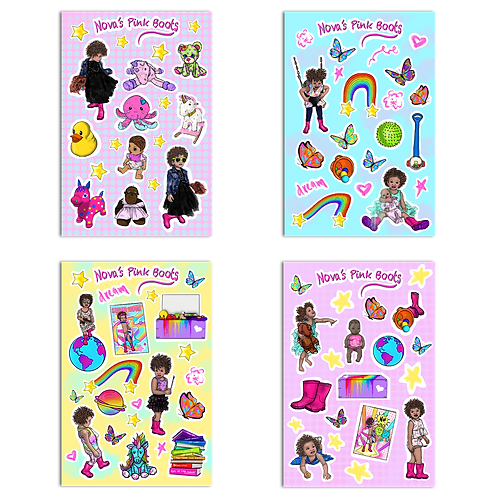Nova's Pink Boots - 86 Piece Sticker Pack