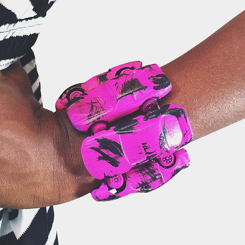 Pink Splash Toy Car Stretch Bracelet