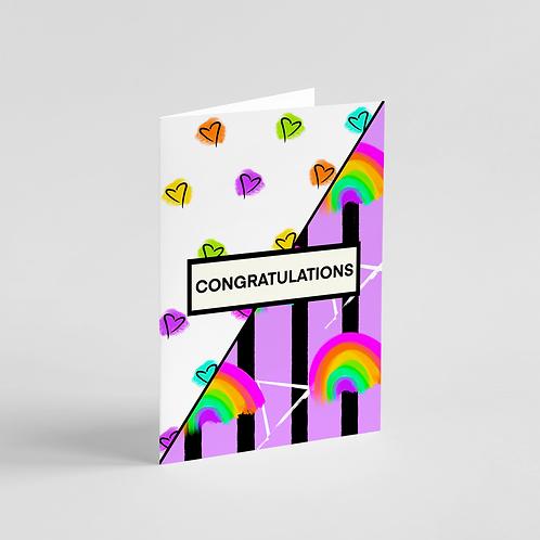 Congratulations Rainbow Party Note Card