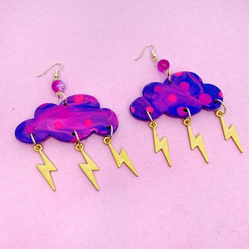 Fantasy Clouds Handmade Clay Earrings