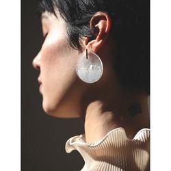 white moon glass earring