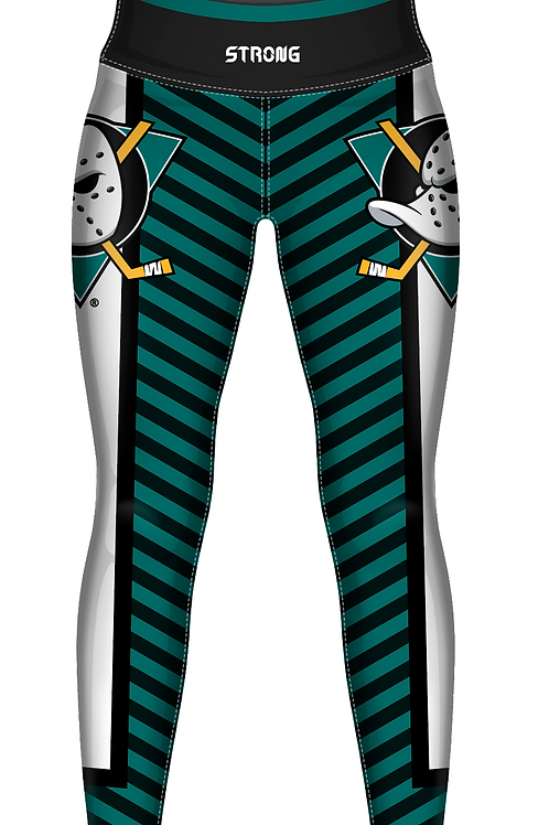 JR DUCKS - Performance Active Leggings - Teal Stripe