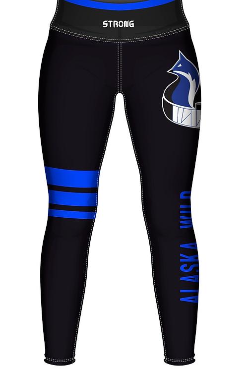 AK Wild Leggings - Black w Blue Stripes
