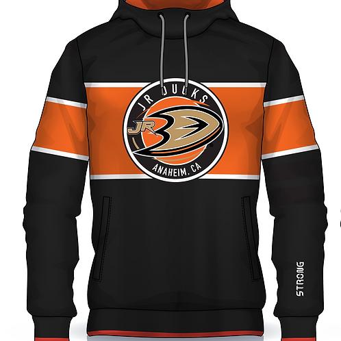 Jr Ducks Retro Hoodie Orange Logo w Gaiter Mask