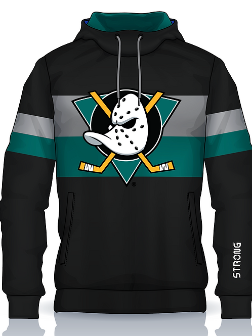 Jr Ducks Retro Hoodie Teal Logo w Gaiter Mask