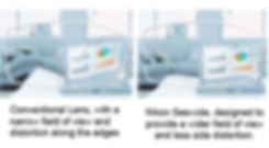 Nikon Seewide multifocal vs conventional multifocals, which have a narrower field of view and side distortion.